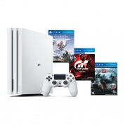 Игровая приставка Sony PlayStation 4 Pro White + Horizon Zero Dawn Complete Edition + Gran Turismo + God of War