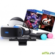 Sony PlayStation VR Шлем виртуальной реальности + камера + 2-а джойстика move + PlayStation VR Worlds + Gran Turismo Sport