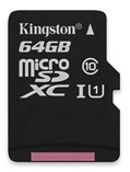 Карта памяти Kingston microSDXC Class 10 64GB + SD adapter