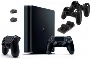 Игровая приставка Sony PlayStation 4 Slim 1 ТБ + 2-й джойстик + Зарядная станция + 2 накладки + 2 чехла для джойстика