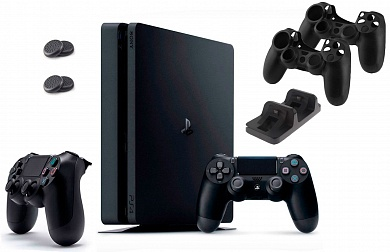 PlayStation 4 Slim 500 GB + 2-й джойстик + Зарядная станция + 2 накладки + 2 чехла для джойстика