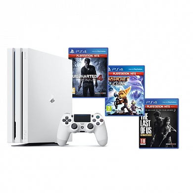 Игровая приставка Sony PlayStation 4 Pro White + Uncharted 4 + Ratchet & Clank + The Last of Us Remastered
