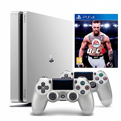 Игровая приставка Sony PlayStation 4 Slim 500GB белого цвета + 2-й джойстик DualShock + игра UFC 3
